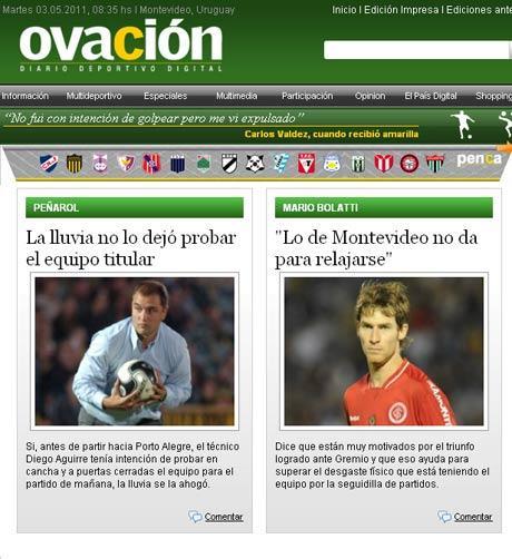 Peñarol veio a Porto Alegre sem time definido, diz jornal Reprodução, ovaciondigital.com.uy /