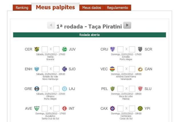 Torcedores já podem fazer suas apostas no Bolão zhEsportes Gauchão 2012 Reprodução/Agência RBS