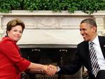 Após almoço oferecido pelo presidente americano Barack Obama para a chefe de Estado brasileira Dilma Rousseff, os dois líderes fizeram declarações à imprensa