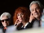 """Diretor francês Alain Resnais, atriz Sabine Azema e ator Pierre Arditi na conferência de """"Vous n'avez encore rien vu"""""""
