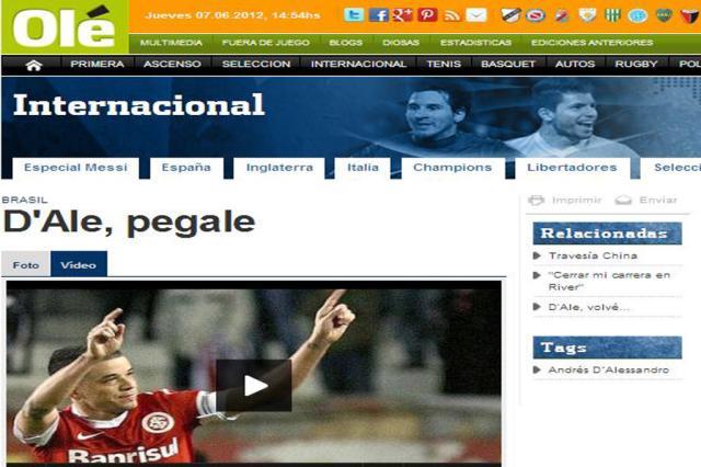 Olé destaca golaço de D'Alessandro contra o São Paulo Reprodução, Olé/