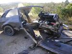 Chevette foi atingido por caminhão e ficou totalmente destruído