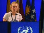 A jovem neozelandesa Brittany Trilford, de 17 anos, discursou na abertura da conferência sobre sustentabilidade da ONU