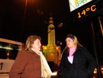Primeira noite do inverno 2012 em Caxias do Sul. Na foto, as professoras Janete da Silva e Joana Andressa de Oliveira em frente à Igreja São Pelegrino