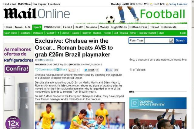 Jornal inglês divulga acerto do Chelsea por Oscar por 25 milhões de libras dailymail.co.uk/Reprodução