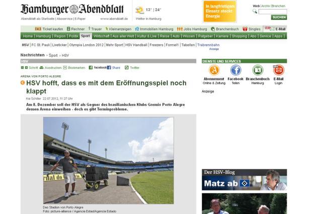 Jornal alemão comete nova gafe ao noticiar o Hamburgo na Arena do Grêmio  HamburgerAbendblatt / Reprodução/