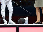 """Apenas"" o capacete da esgrimista sul-coreana Shin A Lam"