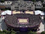 Visão aérea da arena montada em Londres para os jogos de vôlei de praia