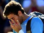 Decepção e lágrimas do argentino Juan Martin del Potro após perder jogo épico para Roger Federer na semifinal do tênis masculino