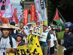 O dia também foi de protestos contra o uso de energia nuclear