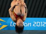 Chinesa Hu Yadan compete na plataforma de 10m nos saltos ornamentais