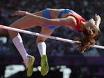 Russa Anna Chicherova no salto em altura dos Jogos Olímpicos