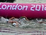 Na prova da maratona aquática, a brasileira Poliana Okimoto teve hipotermia e desistiu