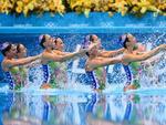 Equipe australiana de nado sincronizado, formada por Eloise Amberger, Tarren Otte, Samantha Reid e Bianca Hammett