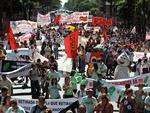 Manifestações na Avenida Rio Branco, no Rio de Janeiro