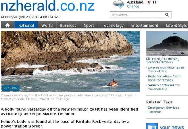 Corpo de brasileiro desaparecido na Nova Zelândia foi encontrado, diz jornal NZHerald/Reprodução