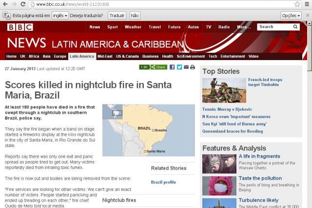 Tragédia em Santa Maria é destaque em grandes portais de notícias pelo mundo Reprodução/ Site BBC/