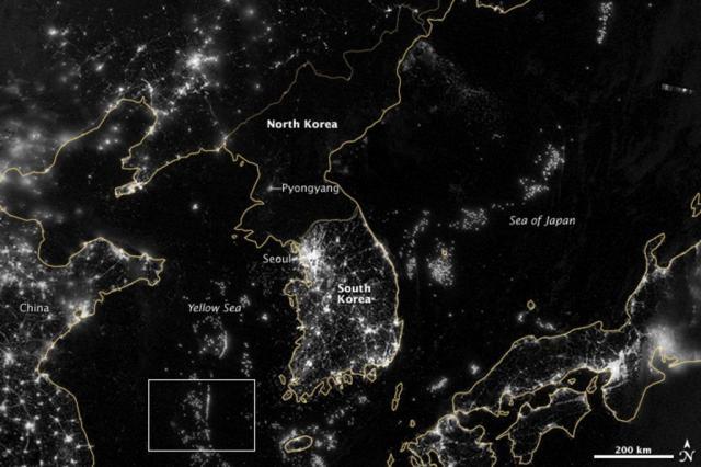 Imagem noturna de satélite evidencia crise energética da Coreia do Norte nasa/Nasa