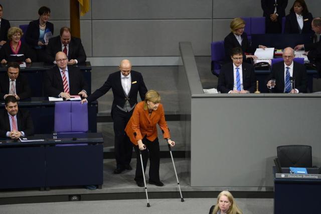 Chanceler alemã faz discurso em defesa da justiça social no 3º mandato JOHN MACDOUGALL/AFP