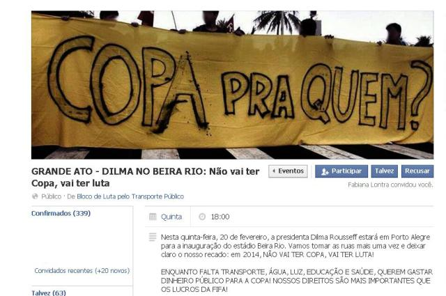 Bloco de Luta organiza protesto em dia de visita de Dilma a Porto Alegre Reprodução/Facebook