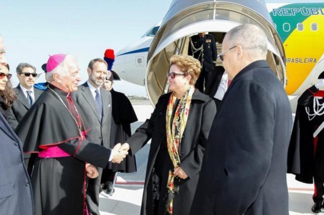Dilma Rousseff chega a Roma para encontro com Papa Francisco oberto Stuckert Filho//PR