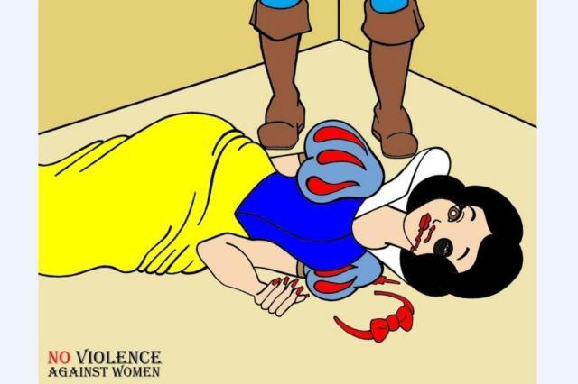 Artista italiano usa personagens conhecidos das crianças para repudiar violência conjugal alexSandro Palombo/Reprodução
