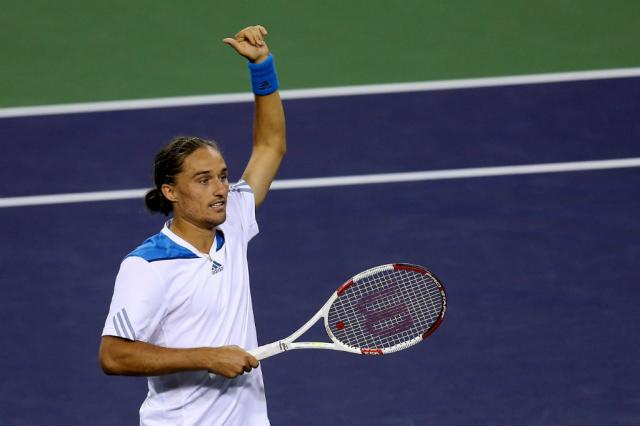 Alexandr Dolgopolov derruba Rafael Nadal no Masters 1000 de Indian Wells STEPHEN DUNN / GETTY IMAGES NORTH AMERICA / AFP/