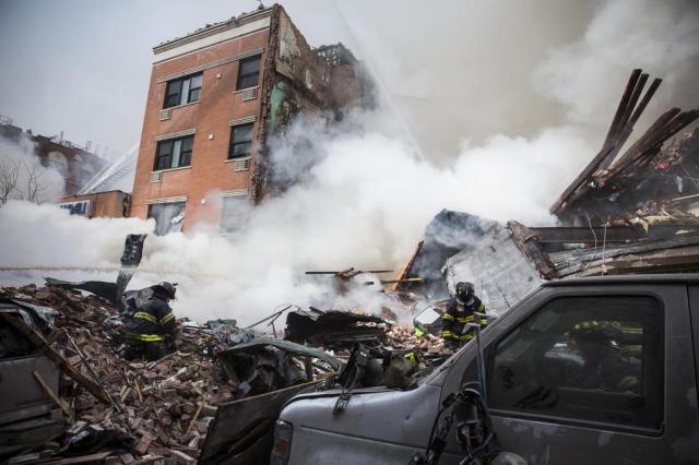 Explosão e desabamento de dois prédios em Nova York deixam dois mortos Andrew Burton/Getty Images/AFP