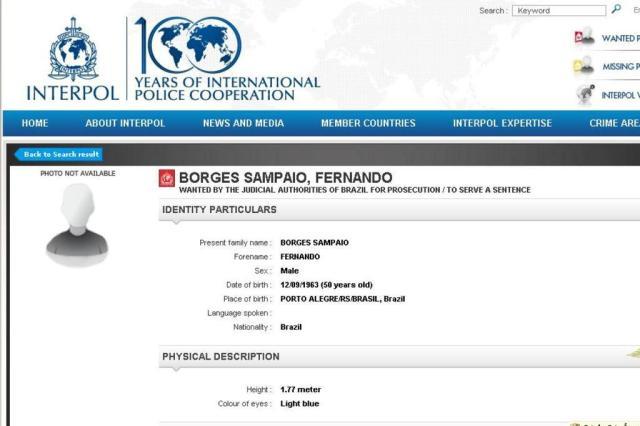 Foragido da Justiça gaúcha é extraditado após ser preso na Grécia Interpol/Reprodução