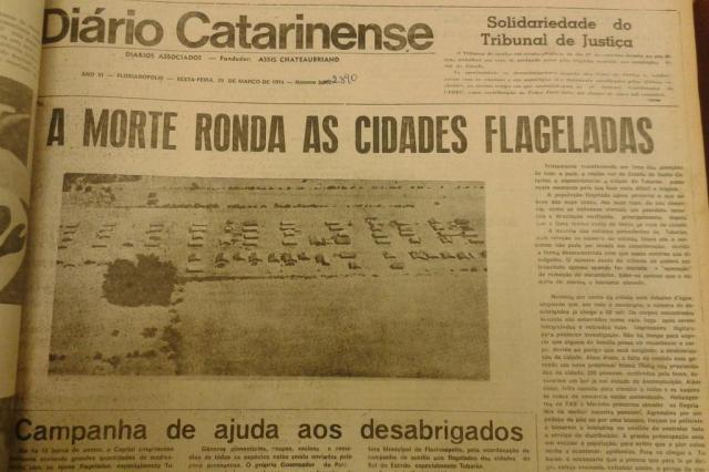 Notícias da catástrofe de Tubarão em 1974 eram marcadas pela imprecisão Reprodução/Reprodução