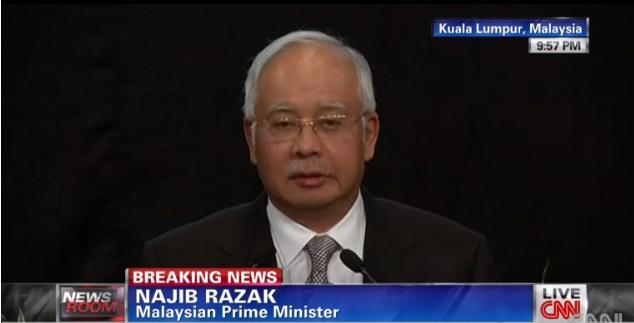 """""""Com muita tristeza eu informo que o avião está no fundo do Oceano Índico"""", diz primeiro-ministro da Malásia Reprodução CNN/"""