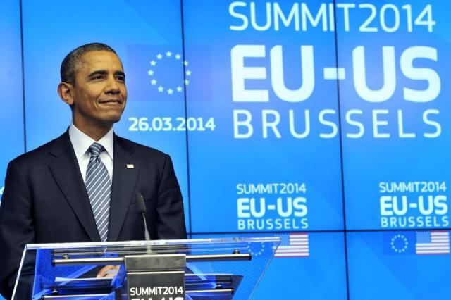 """""""Rússia está sozinha"""", diz Obama em cúpula com líderes da UE GEORGES GOBET/AFP"""