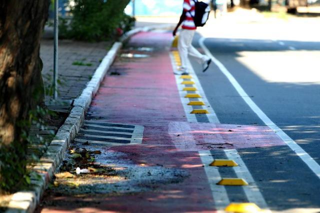 Desvio em pintura de ciclofaixa de Porto Alegre repercute nas redes sociais  Ricardo Duarte/Agencia RBS