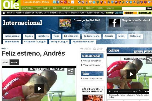 """Jornal Olé destaca """"marca argentina"""" no Beira-Rio antes da Copa do Mundo Reprodução/"""