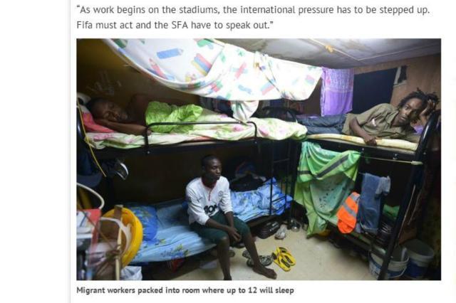 Jornal acompanha operários da Copa de 2022, no Catar, e denuncia condições precárias de trabalho Reprodução/Dayli Record