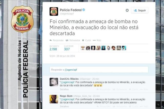Hacker invade perfil da PF e anuncia ameaça de bomba no Mineirão Reprodução/Twitter