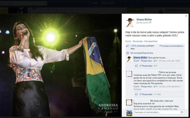 Bairrismo x patriotismo: leitores reagem a texto de Shana Müller Facebook/Reprodução