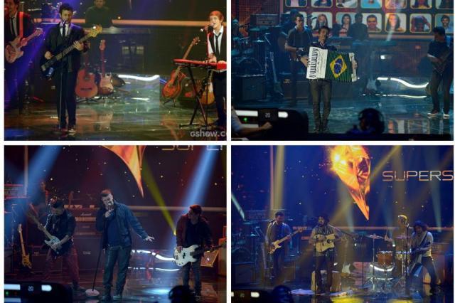 Quatro bandas estão na final do SuperStar Montagem com fotos de  Camila Serejo e TV Globo/Divulgação
