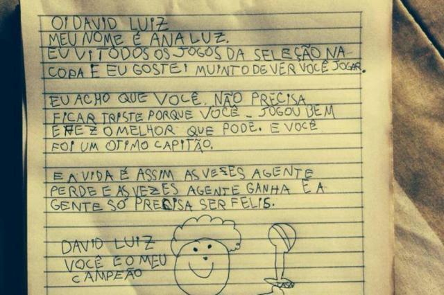 David Luiz responde carta de fã de nove anos e agradece apoio  Arquivo Pessoal/Facebook