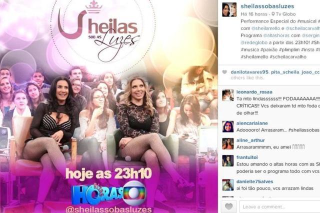 Scheila Carvalho e Sheila Mello voltam a se apresentar juntas Instagram/Reprodução
