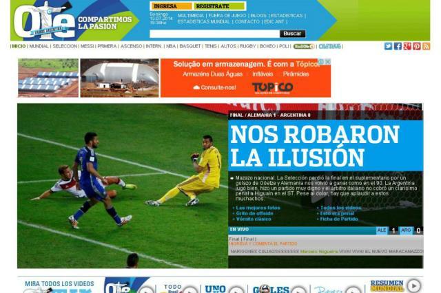 Jornal Olé diz que sonho argentino de ser campeão mundial foi roubado Olé/Reprodução