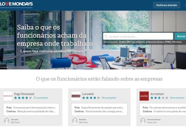 Site permite que funcionários compartilhem informações sobre empresas Love Mondays/Reprodução site