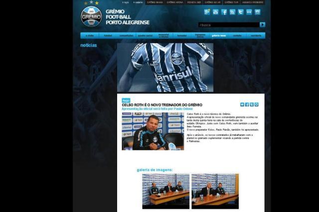 Notícia antiga sobre contratação de Roth pelo Grêmio se espalha na internet Reprodução/Grêmio.net