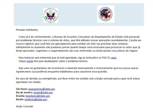 Problema técnico afeta emissão de vistos para os Estados Unidos Reprodução/