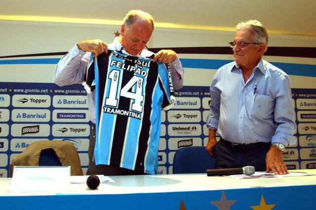 """Via assessoria, Felipão diz: """"Estou muito contente de retornar ao clube que sempre tive carinho"""" Lucas Uebel/Gremio.net"""