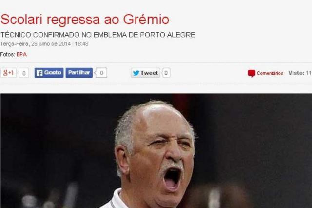 Imprensa internacional destaca retorno de Felipão ao Grêmio 18 anos depois Reprodução/record.xl.pt