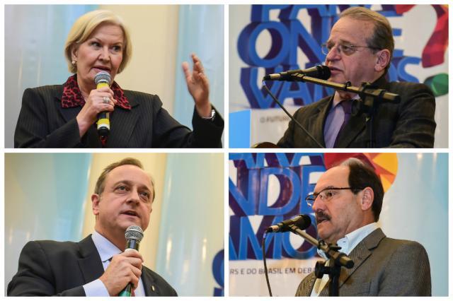 Candidatos ao Piratini são sabatinados pela Famurs  Montagem sobre fotos Vinícius Costa/Agência Preview