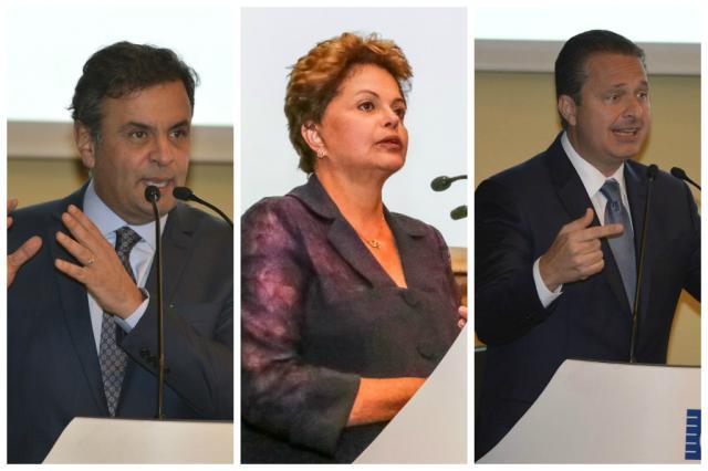 Aécio, Campos e Dilma falam de suas propostas para empresários José Paulo Lacerda/CNI e Ichiro Guerra/Dilma 13/