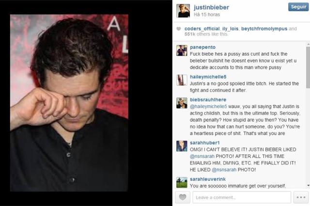 Justin Bieber publica no Instagram foto de Orlando Bloom 'chorando' Reprodução/Instagram