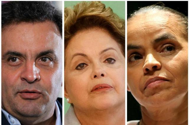Pesquisa Vox Populi: Dilma tem 36%, Marina 27% e Aécio 15% Montagem sobre fotos/Reprodução